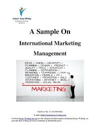 sample on international marketing management by instant essay writing