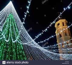 Bell Tower Tree Lighting Christmas Tree With Decoration And Bell Tower At Cathedral