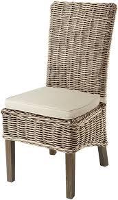 grey wash high back rattan dining chair