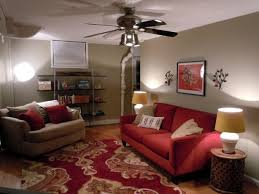 cozy living room with red couch red
