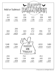 New Halloween Addition and Subtraction Worksheets 3 and 4 Digit ...