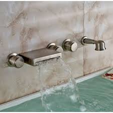 wall mount brushed bathtub faucet with handheld shower