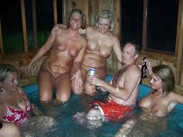 Outdoor hot tub orgy