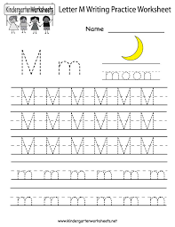 Practice Writing Letters Template Beauteous Kindergarten Letter M Writing Practice Worksheet Printable