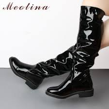 Meotina Knee High Boots <b>Women Patent</b> Leather Winter Boots ...