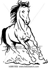 running horse clipart black and white. Fine White Isolated Black White Running Horse For Running Horse Clipart Black And White S