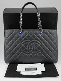 Chanel Dark Grey Quilted Caviar Leather XL Grand Shopping Tote Bag ... & ... Chanel Dark Grey Quilted Caviar Leather XL Grand Shopping Tote Bag Adamdwight.com