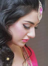 latest bridal enement makeup with pink dress