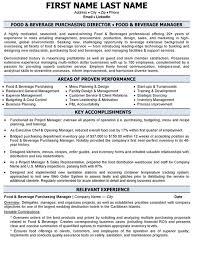 Job Description Food And Beverage Director Resume Smlf Food