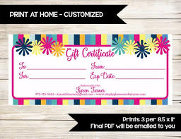 Customized Gift Certificates Gift Certificate Gift Card Custom Print At Home Customer Discount Vip Perks Direct Sales Coupon Vendor Event
