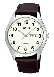 lorus rj645ax9 mens brown leather strap lumibrite day date watch
