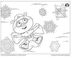 Small Picture Super Why Coloring Page Alpha Pig Making a Snow Angel Happy