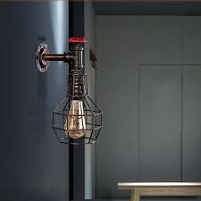 loft industrial iron cage. Edison Wall Sconces Loft Style Iron Cage Water Pipe Lamp Sconce Industrial Vintage Light . I