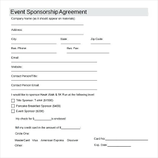 Professional Athlete Contract Template Cool Sponsor Agreement Form Please Select Desired Sponsorship Level