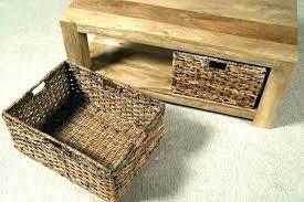 under table basket side with wicker baskets storage dressing ideas ottoman coffee