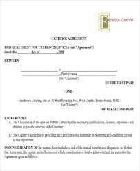 catering contract terms of agreement wedding catering contract sample