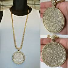 frequently bought together mens iced out hip hop gold round cz medallion pendant