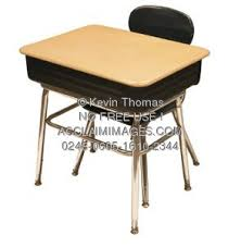 school desk and chair top view. stock photo of school desk and chair top view
