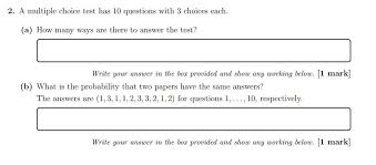 Multiple Questions Test Solved A Multiple Choice Test Has 10 Questions With 3 Cho