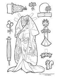 花嫁衣装の紙人形の塗り絵の下絵画像 Japanese Paper Doll 着せ替え