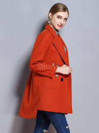 women pea coat long sleeve notch cat embroidered high low orange red winter coats no