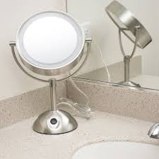conair be119wh 8 1 2 satin nickel freestanding led lighted vanity mirror with on off switch