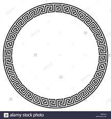 Circle Border Greek Key Round Frame Typical Egyptian Assyrian And Greek