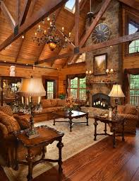 a massive stone fireplace anchors this custom log home the timber frame trusseetal stone fireplace decorcabin