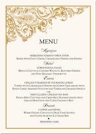 Sample Wedding Reception Menu