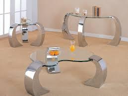 chrome finish 3 pc occasional table set ca720058c