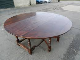 2 metre round antique table large round oak 17th century manner drop leaf farmhouse table
