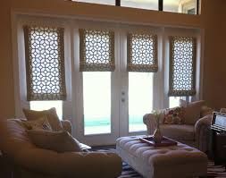 white wooden french doors window with flat roman shade combined with cream painted wall as well as vertical blinds also door panel window treatments