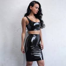 women s faux leather 2 piece dress co ord set s
