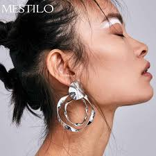 MESTILO Simple Punk <b>Big Gold</b> Sliver Square Hoop Earrings For ...