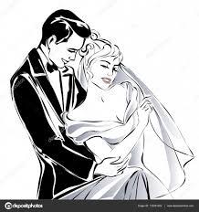 Wedding Couple Happy Bride And Groom Sketch Invitation Vector
