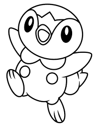 Small Picture Happy Piplup Legendary Pokemon Coloring Page Free Printable