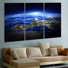 3 Panel Modern Sunrise Space Universe Picture Wall Decor Canvas Art Home  Decor For Living Room No Frame Wall Art Picture
