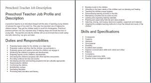 Day Care Teacher Job Description For Resume