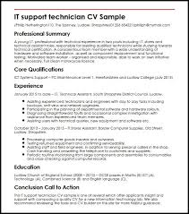 computer support technician resume it support technician cv sample myperfectcv
