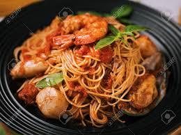 Seafood Spaghetti Marinara Served On A ...