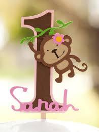Monkey Jungle Cake Topper - Girly Mod Birthday Decorations 1st Theme Zoo Safari ANY AGE Party