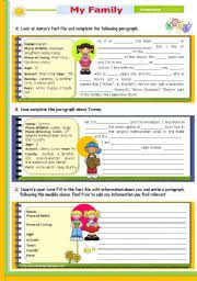 english teaching worksheets other writing worksheets 2nd lesson of 45m reading leading to writing series 14 my family level elementary age 9 12 s 776