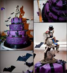 Creepy Cool Purple And Black Tiered Wedding Cake With Bats And