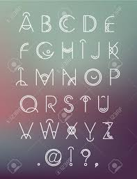 Vector geometric hipster modern creative font, abc, letters on blur  background Stock Vector -