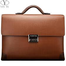 <b>YINTE Leather Men'S</b> Briefcase Classic Business Brown Bag ...