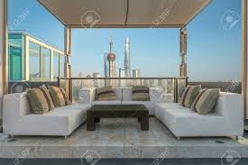 luxury lounge chairs. Chairs And Couch Sofa Provide In Lounge From A Highrise Rooftop Shanghai, China. Luxury D