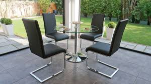 modern 4 seater dining set round chrome and glass table funky with regard to stylish property round glass dining table with 4 chairs plan