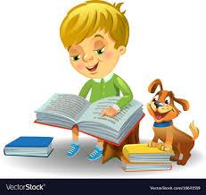 cute boy reading book vector image