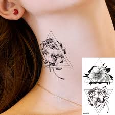 Us 044 10 Offtemporary Tattoo Stickers Women Geometric Black Fake Tattoo Flower Ear Small Waterproof Tatoos Girls Triangle Rose Summer Style In