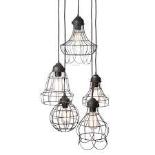 wire five light pendant lamp